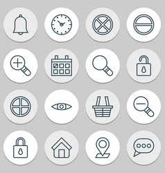 Web icons set collection safeguard bell vector