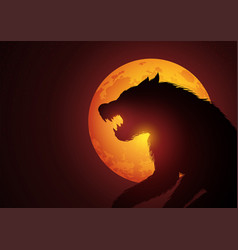 Werewolf lurking in the night during full moon vector