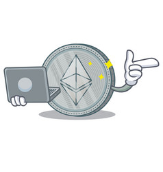 With laptop ethereum coin character cartoon vector
