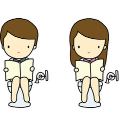 Boy and Girl in toilet vector image