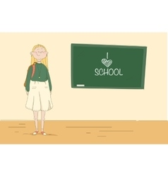 Girl at the blackboard Pupil in the school vector image vector image