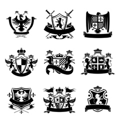 Heraldic emblems black vector image