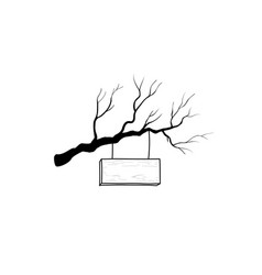 wooden road sign on tree branch retro engraving vector image