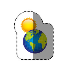 color earth planet with sun icon vector image
