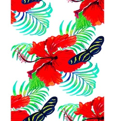 Hibiscus pattern2 vector image vector image