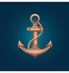 nautical bronze anchor vector image vector image