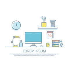 office work place elements vector image