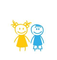 Sketch Cute Funny Girl and Boy vector image vector image