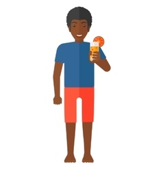 Tourist holding cocktail vector image