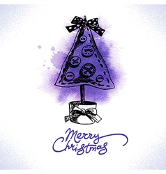 Christmas hand drawn watercolor background vector image vector image