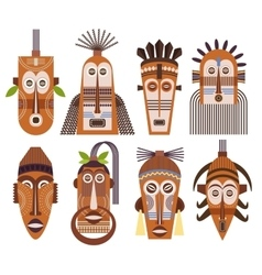 Tribal ethnic mask icons vector image