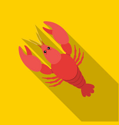 boiled lobster icon in flat style isolated on vector image