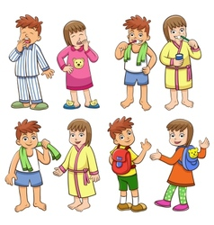 boy and girl daily morning life vector image vector image