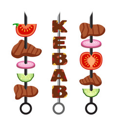 set of kebab minced meat grilled meat food and vector image