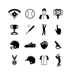 symbol of sport baseball black icons set vector image vector image