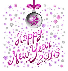 2016 New Year card with pink balls vector image