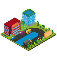 3d design for buildings and cars on the road vector image