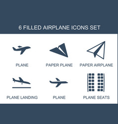 6 airplane icons vector