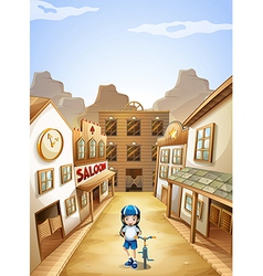 A girl in the town vector