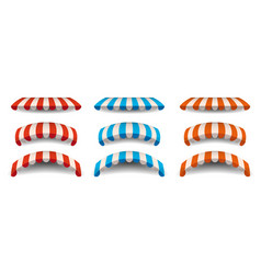 A set of striped red blue orange white awnings vector