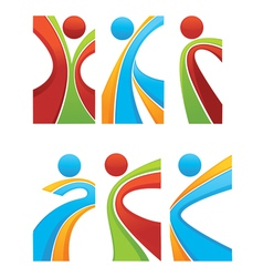 active and sportive abstract people vector image