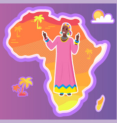 Africa map and african woman ethnic origin vector