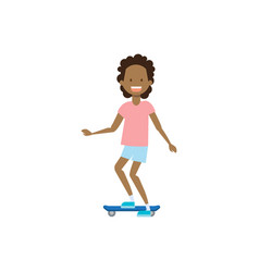 African young girl riding electro scooter over vector