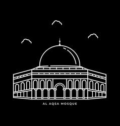 Al aqsa mosque historical building icon design vector