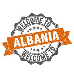 albania round ribbon seal vector image vector image
