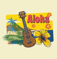 aloha hawaii ukulele in vintage style vector image