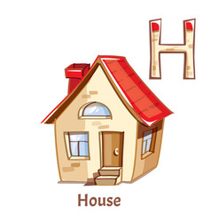 Alphabet letter h house vector