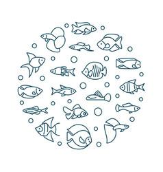 Aquarium fish round creative vector