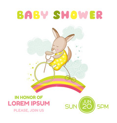 Baby shower card - girl kangaroo on a bike vector