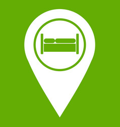 Bed hostel hotel sign icon green vector
