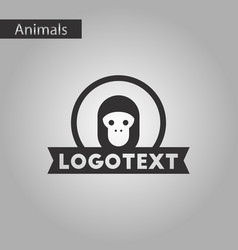 Black and white style icon monkey logo vector
