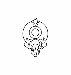 Black line art elephant head with o initial vector