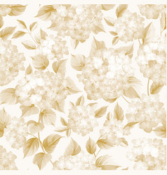 Blooming flower of golden hydrangea on white vector