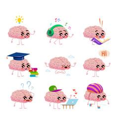 Brains character read books listen music ride vector