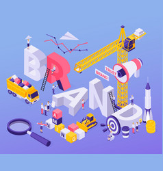 Brand building isometric background vector