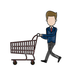 businessman character push shopping cart vector image
