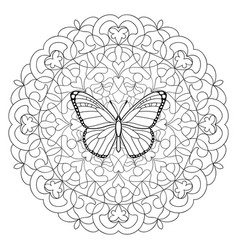 butterfly mandala coloring page vector image