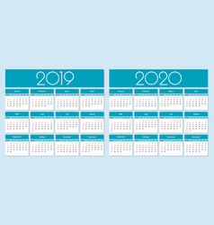Calendar 2019 and 2020 year vector