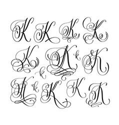 Calligraphy lettering script font k set han vector