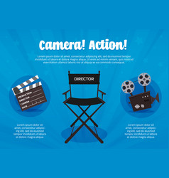 camera action flyer vector image