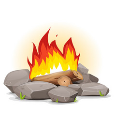 campfire with burning flames vector image