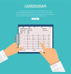cardiogram on clipboard in hands of doctor vector image