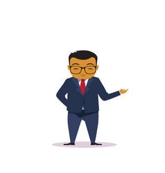 cartoon asian business man holding hand gesture vector image