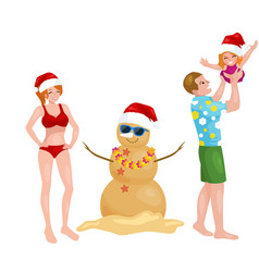 cartoon family having fun with snowman made of vector image