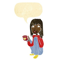 Cartoon woman sitting with cup of coffee with vector