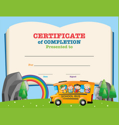 Certificate template with kids on school bus vector
